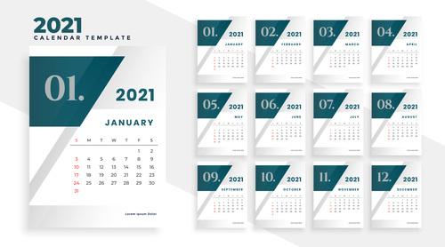 Dark Header 2021 New Year Calendar Vector