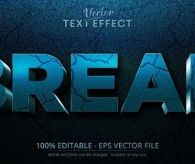 Dark blue crack 3d editable text style effect vector