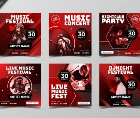 Dark red concert poster design vector