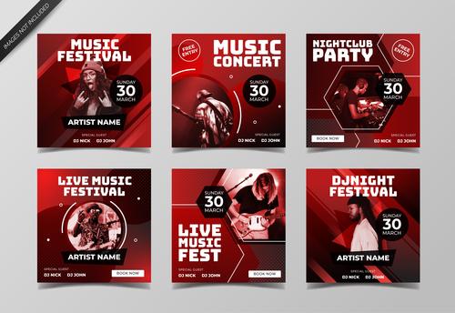 Dark red concert poster design vector