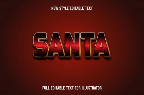 Dark red santa text style effect vector