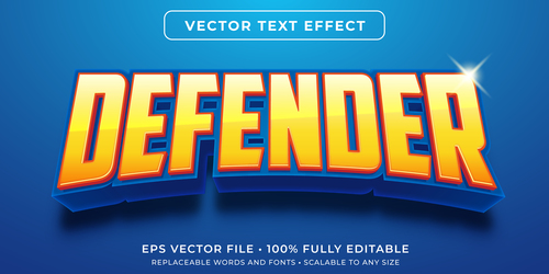 Defender 3d editable text style effect vector