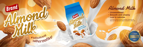 Delicious almond milk advertising vector