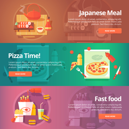 Delicious food flat banner set vector