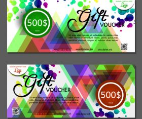 Design colorful geometric background gift card voucher vector