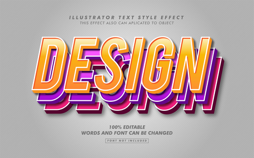 Design illustrator text style effect vector