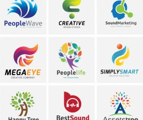 Different abstract logo design vector