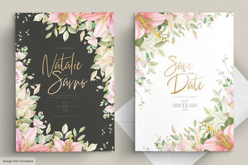Different color flower background invitation card vector