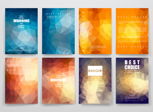Different color geometric brochure vector