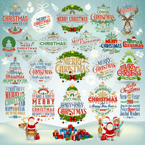 Different decorated Christmas badges vector