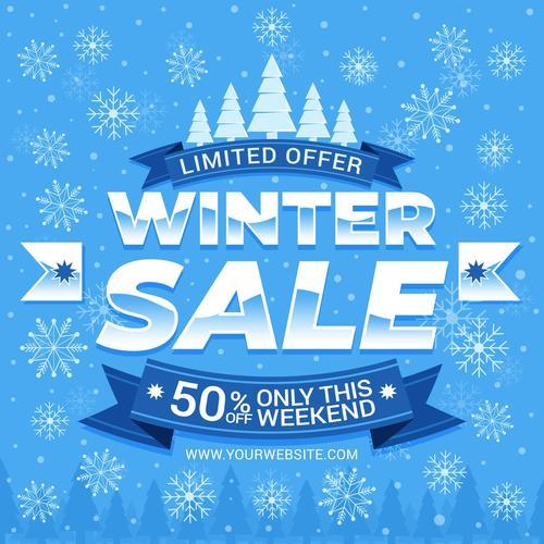 Discount winter sale vector