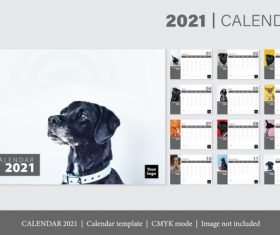 Dog background 2021 calendar template vector