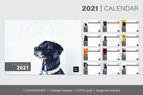 Dog background 2021 calendar template vector