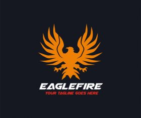 Eagle fire logo design vector