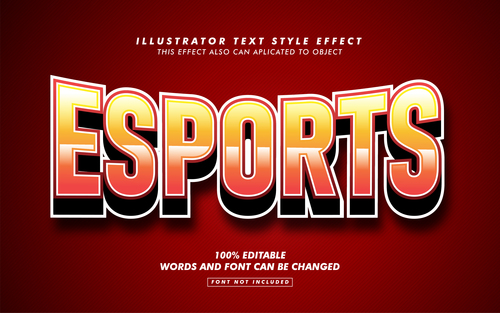 Esports illustrator text style effect vector
