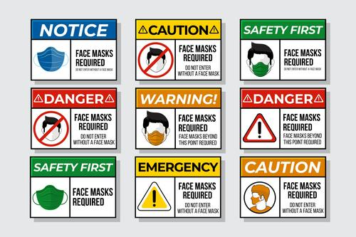 Face mask required sign collection vector