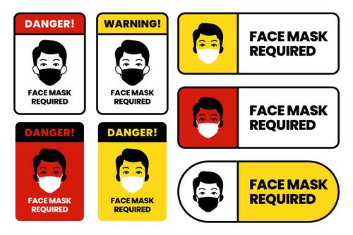 Face mask required sign set vector