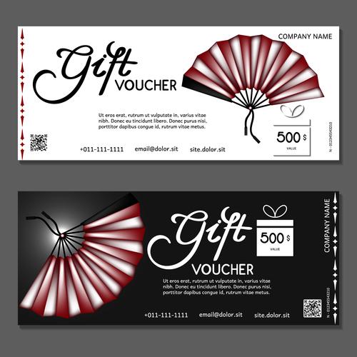 Fan background gift card voucher vector