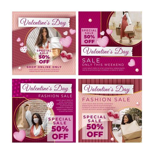 Fashion sale Valentines Day Vector