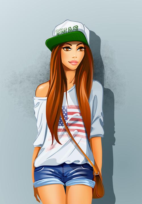 Fashion trend girl vector