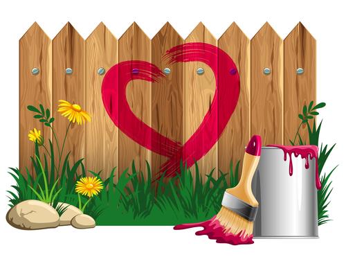 Fence heart vector