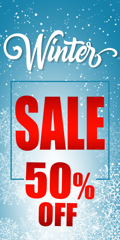 Fifty percent winter sale lettering frame vector