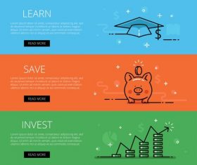 Finance line vector web banners set