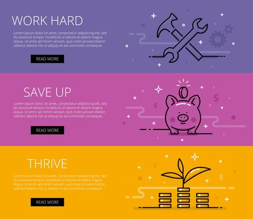 Financial literacy line vector web banners set
