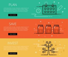 Financial management web banner set vector