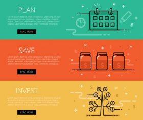 Financial management web banner set vector