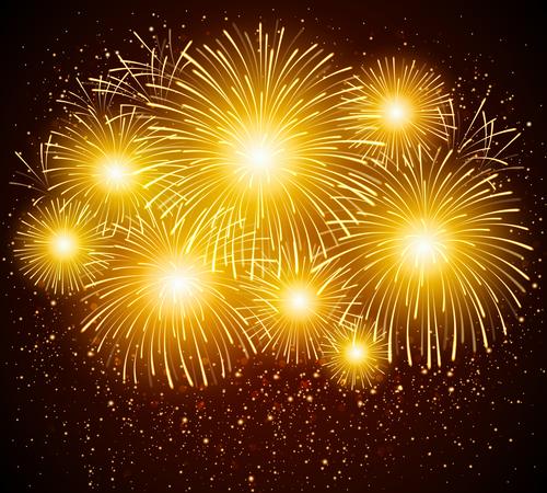 Firework yellow vector
