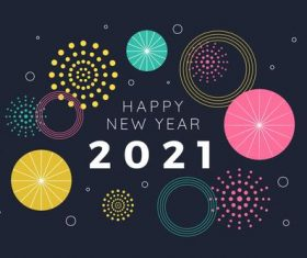 Fireworks flat design happy new year 2021
