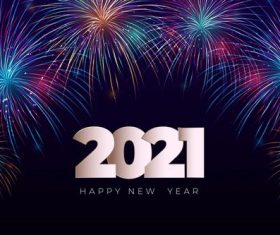 Fireworks new year 2021 background vector