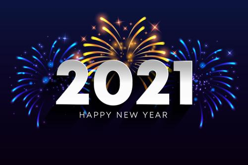 Fireworks new year 2021 vector