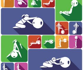 Fitness ball exercise icon vector
