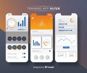 Fitness mobile app infographic template vector