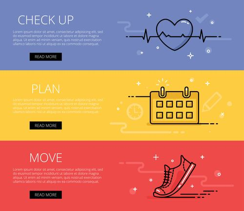 Fitness vector web banners set