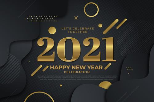 Flat design new year 2021 background vector