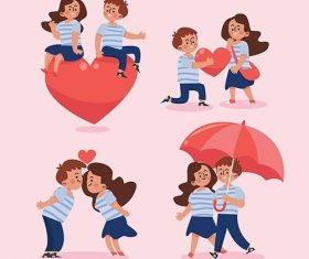 Flat design valentines day couple set vector