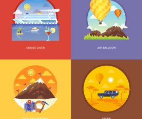 Flat travel set template vector