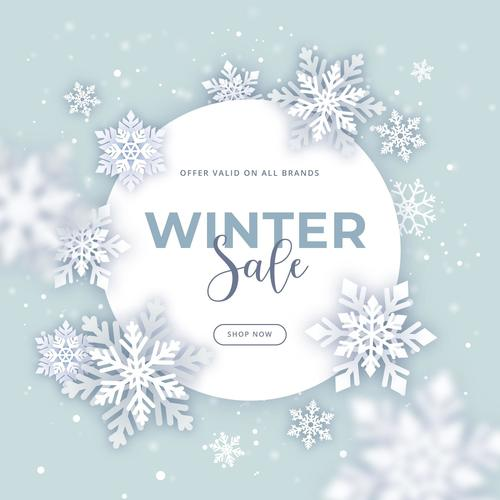 Flat winter sale promotion vector