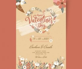 Floral heart-shaped Valentines Day postcard vector