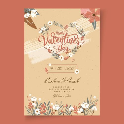 Floral heart shaped Valentines Day postcard vector