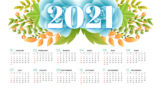 Floral style 2021 calendar template vector