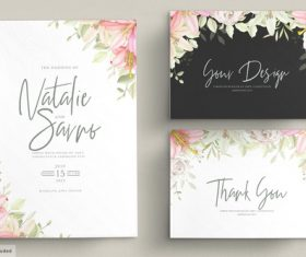 Floral wedding invitations design set drawn vector