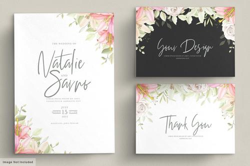 Floral wedding invitations design set drawn vector
