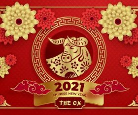 Flower and cow paper-cut art 2021 new year greeting card vector