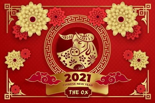 Flower and cow paper cut art 2021 new year greeting card vector