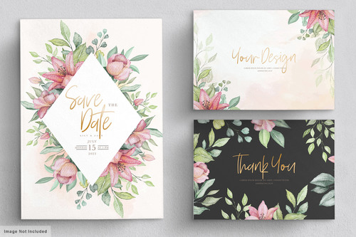 Flower background invitation card vector