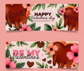 Flower banner Valentines Day banner vector